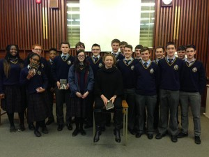 Some students from 5th year with 'Foster' author Claire Keegan