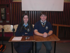 Rebecca as timekeeper and Conor as chairperson